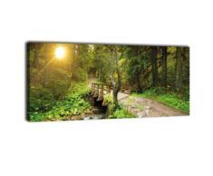 wandmotiv24 Leinwandbild Panorama Nr. 326 Waldweg mit Bach 100x40cm, Keilrahmenbild, Bild auf Leinwand, Natur Fluss Landschaft