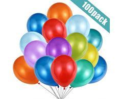 Luftballons Bunt,100 Stück Bunte Ballons Latex, Helium Farbenfrohe Ballons 30cm, Farbige Partyballon für Geburtstagsfeier, Hochzeitsfeier, Abschlussfeier, Gartenparty Sommerfest Halloween Deko