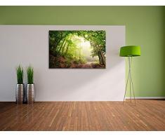 Sonnenstrahlen Waldweg, Schöner Waldweg durch dichte grüne Blätter im Wald. Sonnenstrahlen brechen durch das dichte Laubwerk. Bild auf Leinwand, XXL riesige Bilder fertig gerahmt mit Keilrahmen, Kunstdruck auf Wandbild mit Keilrahmen,