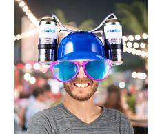 Relaxdays 10022789_45 Party Trinkhelm, Helm mit Schlauch, für 2 Dosen Bier, Spaßartikel Fasching u. Fußball, lustiger Bierhelm, blau, Unisex – Erwachsene, 13 x 32 x 28 cm