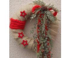Generisch Dekorativer Türkranz XL mit Filz creme-rot-grün32x60cm Weihnachten Einzelstück Unikat Landhaus