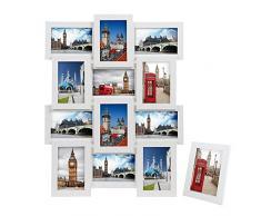 Songmics Bilderrahmen Collage für 12 Fotos je 10 x 15 cm (4 x 6) + 1 x einzelner Fotorahmen aus MDF-Platten weiß RPF112W