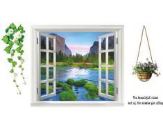 AY Walplus -Großes 3D Fluss Aussicht Fenster Wand Sticker Aufkleber Dekoration