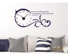 Graz Design 800331_AL_049 Wandtattoo Uhr Wanduhr Ornament Spruch Zitat Wohnzimmer (Uhr Silber gebrstet /Aufkleber Knigsblau)