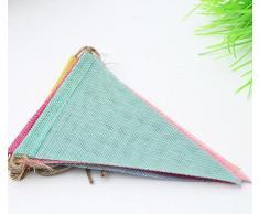 Haodou Wimpelkette 4m mit 12 Dreieck Wimpeln Bunt Girlande für Hochzeits,Kinderzimmer Dekoration, Weihnachtsfest und Geburtstagsfeier