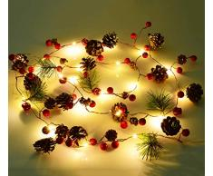 YQing 204cm Weihnachtskiefer Girlande, Weihnachtsgirlande mit LED,Rote Beeren, Kiefernzapfen, Beerengirlande Deko für Kamin-Tür-Winter-Innendekoration im Freien
