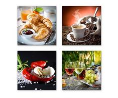 Küchen Bilder Set A schwebend, 4-teiliges Bilder-Set jedes Teil 19x19cm, Seidenmatte Optik auf Forex, moderne Optik, UV-stabil, wasserfest, Kunstdruck für Büro, Wohnzimmer, Deko Bild, Kaffee Obst Wein