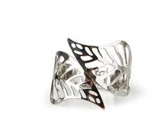 Silver Armreif Blatt Metall silber biegbar auch als Serviettenring 6cm