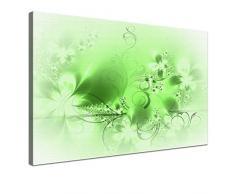 LANA KK - Leinwandbild Blütentraum Light Green abstraktes Design auf Echtholz-Keilrahmen – Fotoleinwand-Kunstdruck in grün, einteilig & fertig gerahmt in 100x70cm
