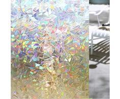 Shackcom 3D Fensterfolie Selbsthaftend Blickdicht Sichtschutz Sichtschutzfolie Statisch Haftend Anti-UV Dekorfolie für Bad Küche Büro Zuhause - Farbeffekt unter Licht 45x200CM S160