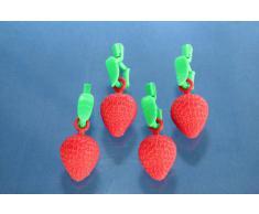 De-Plastik 3493 110 Tischtuchbeschwerer / 77 x 27 mm / Erdbeere / 4er Set