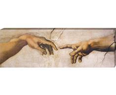 1art1 Michelangelo Buonarroti - Die Erschaffung Adams, Detail, 1508-1512 Poster Leinwandbild Auf Keilrahmen 150 x 50 cm