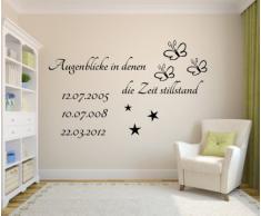 *Augenblicke in denen die Zeit still stand* Wandtattoo mit Wunschdatum.Wandsticker Datum Sterne,Schmetterlinge (Spruch + dreimal Datum)