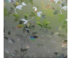 Fensterfolie Blätter GLC-1058 - LINEAFIX statische Dekorfolie - Meterware - Sichtschutz Glasdekorfolie blickdicht - Milchglasfolie