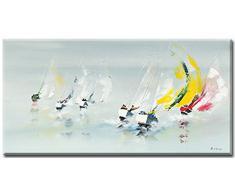 Les Spi Jaunes , Plexiglasbild von Gerard de Coucy, Grösse 100 cm x 50 cm , Wandbild , Acrylglasbild, maritime Bilder , Küstenlandschaft, Wind und Meer, Segeln, Kunstartikel Acrylglasbild direkt zum Aufhängen