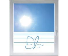 INDIGOS UG Sichtschutzfolie Glasdekorfolie Fensterfolie mit Motiv satiniert blickdicht - d318 Schmetterling fliegen - 1000 mm Länge - 500 mm Höhe Streifen