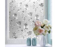 Shackcom Fensterfolie Selbsthaftend Blickdicht Sichtschutz Sichtschutzfolie Statisch Haftend Anti-UV Dekorfolie für Bad Küche Büro Zuhause - 45x200CM Z005