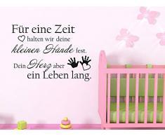 Wandtattoo Aufkleber Tattoo für Kinderzimmer Spruch Für eine Zeit halten wir (81x57cm//071 grau)