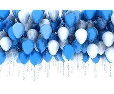 PuTwo Luftballons Blau Weiß, 100 Stück 12 Zoll Luftballons Satz von Hellblaue Luftballons Luftballons Blau und Luftballons Weiß für Baby Geburtstag, Babyparty Junge, Deko Taufe, Party Deko Blau Weiß