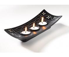 Dekoschale mit 3 Kerzenhaltern für Teelichter, 10x24x3 cm, Holz, Braun