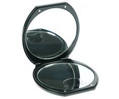 Schwarzer Taschen-Spiegel mit 10-fach Vergrößerung Kosmetex, Ø10, 6cm, Magnetverschluss