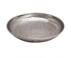 Orientalisches rundes Tablett Schale aus Metall Afet 31cm groß Silber   Orient Dekoschale mit hoher Rand   Marokkanisches Serviertablett Rund   Orientalische silberne Deko auf dem gedeckten Tisch