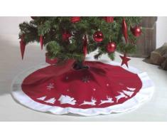Heitmann Deco runde Filz-Baumdecke - Schutz vor Tannennadeln - Tannenbaum-Unterlage mit Weihnachtsmotiv - rot, weiß