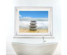 Graz Design 991027_80x57 Sichtschutz Fensterfolie Sichtschutzfolie für Badezimmer Steine Blumen (Größe=80x57cm)
