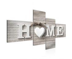 Runa Art Bilder Home Herz Wandbild 200 x 100 cm Vlies - Leinwand Bild XXL Format Wandbilder Wohnzimmer Wohnung Deko Kunstdrucke Braun 4 Teilig - Made IN Germany - Fertig zum Aufhängen 504441a