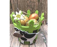 Set aus 6 Brotkörbchen. Ideal als Brotkörbchen, Übertopf für Blumen, Pflanzen, Kräuter. Farbe: Maigrün. Ideal als Deko-Korb, Geschenkkorb, als Geschenkverpakung. Aufwändige Filzdekore.