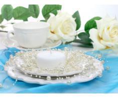 SiDeSo® Perlengirlande 5 Stück á 1,3m Tischdeko Hochzeit (creme)