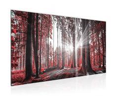 Bilder Wald Landschaft Wandbild 100 x 40 cm Vlies - Leinwand Bild XXL Format Wandbilder Wohnzimmer Wohnung Deko Kunstdrucke Rot 1 Teilig - Made IN Germany - Fertig zum Aufhängen 503812c