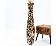 Leewadee Große Bodenvase für Dekozweige hohe Standvase Design Holzvase 111 cm, Mangoholz, Gold