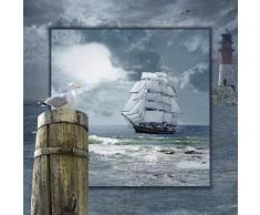 Artland Poster oder Leinwand-Bild fertig aufgespannt auf Keilrahmen mit Motiv Mausopardia Maritime Collage mit Segelschiff Fahrzeuge Boote & Schiffe Digitale Kunst Blau