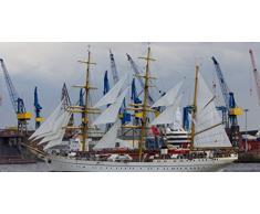 Panorama Leinwandbild auf Keilrahmen: Maritime Impression: Die Gorch Fock im Hamburger Hafen - Leinwandbilder, Leinwanddrucke, Keilrahmenbilder, Wandbilder, Bilder