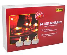 Idena 50023 - 24 Stück LED Teelichte, Elektrische Kerzen mit flackerndem Licht, inklusive Batterien, Deko für Hochzeit, Party, Weihnachten, im Karton, Ostern, als Stimmungslicht