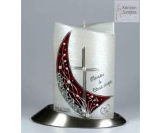 Hochzeitskerze modern Oval 19/13 cm, Silber -1337- mit Namen und Datum - Perlmutt-Struktur und Perlenverzierung- Kerze zur Hochzeit - Brautkerze - Kreuz