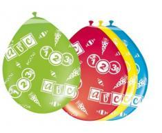 8 Luftballons farbl. sort. Einschulung ABC Erster Schultag