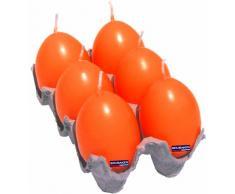 6er-Set Eikerzen in orange! Machen sich super in der Oster-Dekoration! H 6,2cm x Ø 4,3cm bis zu 36 Stunden Brenndauer! Eika by BRUBAKER