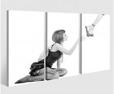 Leinwandbild 3 Tlg. Sexy Engel Frau Waffe Erotik Macht Leinwand Bild Bilder auf Keilrahmen Holz - fertig gerahmt 9O969, 3 tlg BxH:120x80cm (3Stk 40x 80cm)
