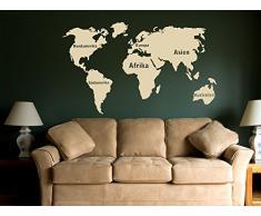 Graz Design 630032_57_070 Wandtattoo Weltkarte mit Beschriftung fr Ihr Wohnzimmer Wand Aufkleber Deko 96x57cm Schwarz