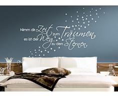 Grandora 1082W Wandtattoo Spruch Nimm die Zeit zum Träumen. Sterne weiß 172 x 58 cm