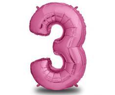 envami Luftballon Geburtstag XXL Pink - Riesen Folienballon in 40 | 101cm Geburtstagsdeko | Ballon Zahl Deko zum Geburtstag | fliegt mit Helium (Zahl 3)
