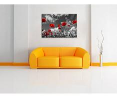 Pixxprint Wiese mit Blumen als Leinwandbild | Größe: 100x70 cm | Wandbild | Kunstdruck | fertig bespannt