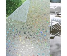 Shackcom 3D Fensterfolie Selbsthaftend Blickdicht Sichtschutz Sichtschutzfolie Statisch Haftend Anti-UV Dekorfolie für Bad Küche Büro Zuhause - Farbeffekt unter Licht 60x200cm