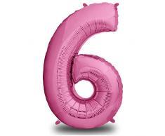 envami Luftballon Geburtstag XXL Pink - Riesen Folienballon in 40 | 101cm Geburtstagsdeko | Ballon Zahl Deko zum Geburtstag | fliegt mit Helium (Zahl 6)