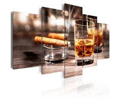 Bilder 200x100 cm - 3 Farben zur Auswahl ! XXL Format! Fertig Aufgespannt TOP Vlies Leinwand - 5 Teilig - Whisky Zigarre Wand Bild Bilder Kunstdrucke Wandbild 030106-14 200x100 cm B&D XXL