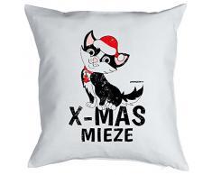 Weihnachten Geschenk Idee Kissen mit Innenkissen - Xmas MIEZE Advent Deko Katze 40x40cm weiß : )