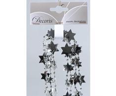 2,7m Perlenkette mit Sternen Kette Girlande Deko Perlenband Perlengirlande Baumkette silber