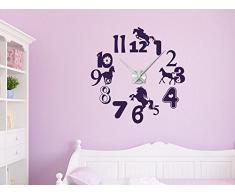 Graz Design 800464_AL_043 Wandtattoo Uhr mit Uhrwerk Wanduhr Kinderzimmer Pferd Horse Blumen Mädchen (Uhr Silber gebürstet /Aufkleber Lavendel)